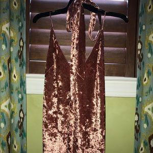 Dresses & Skirts - Pink crushed velvet slip dress with choker